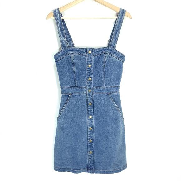 Kookai Denim Pinafore Dress with Pockets